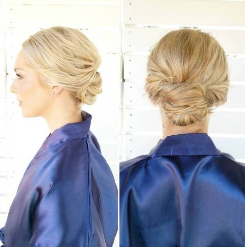 low blonde updo for short hair