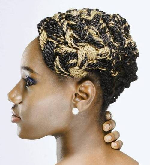 two-tone thin twists in updo