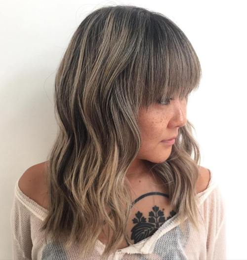 Hollywood waves and brown to gray ombre