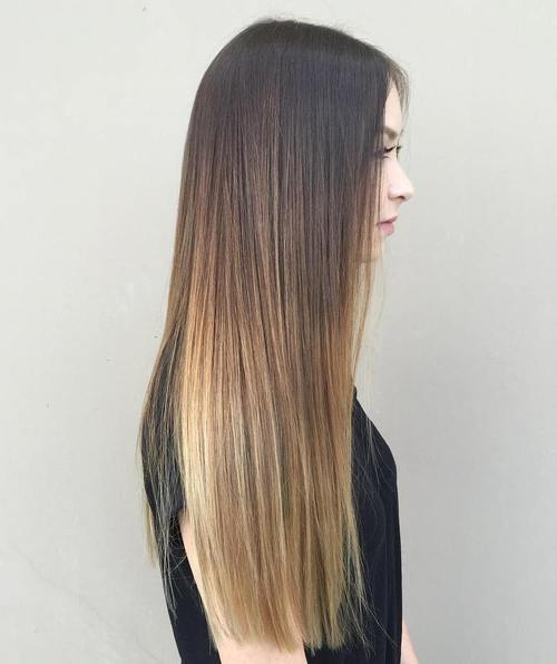 black to light brown long straight ombre hair