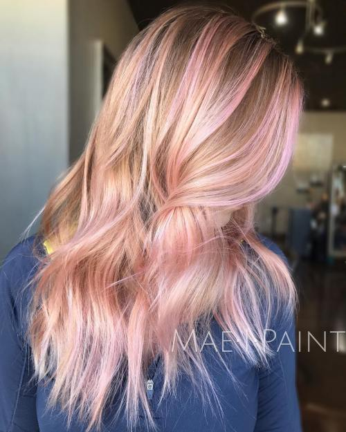 Pink Highlights for Brown Hair