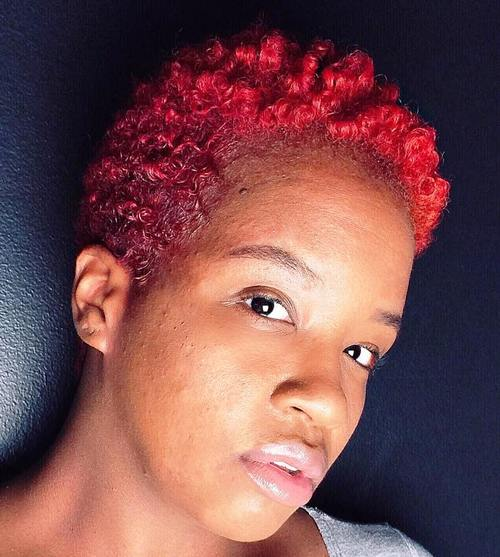 short cherry red afro