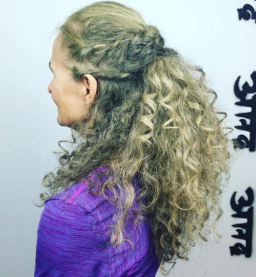 older women's half updo for long curly hair