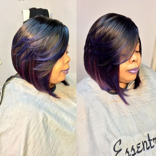 Black Bob Sew In With Purple Highlights