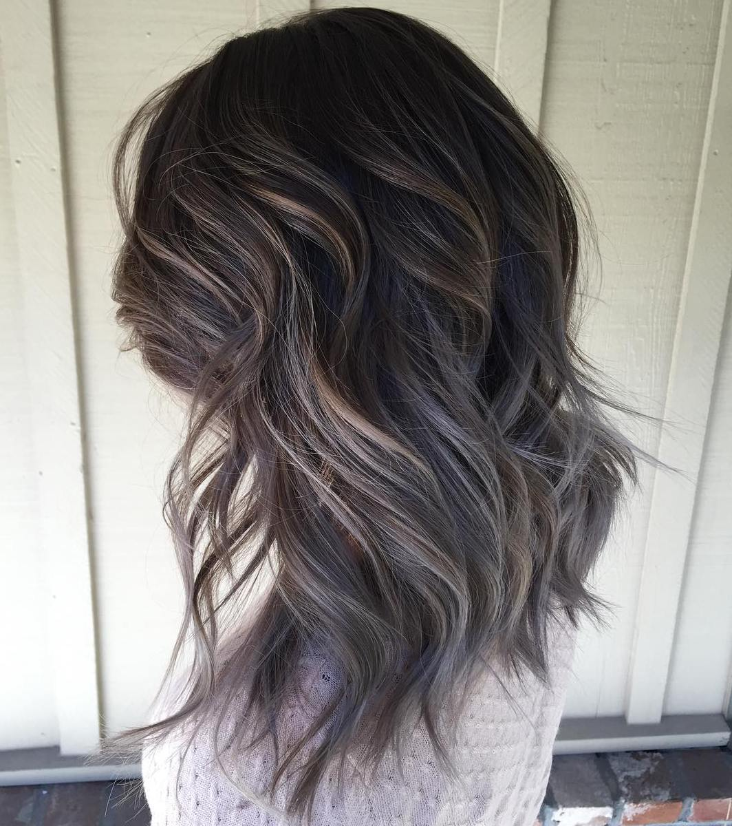 Long Bob Ombre Braun 45 Ideas Of Gray And Silver Highlights On Brown Hair