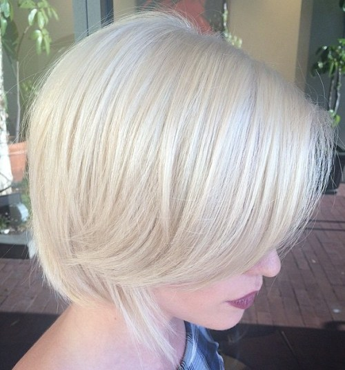 short platinum blonde bob
