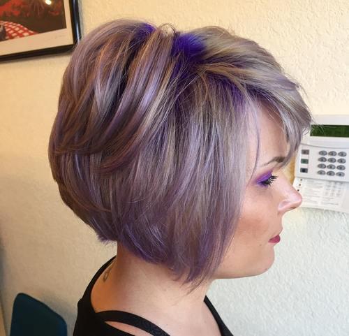 ash brown bob with purple balayage