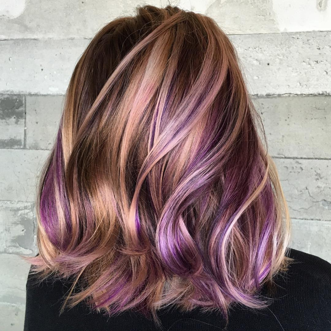 Haarfarbe Dunkelrot Lila 40 Versatile Ideas Of Purple Highlights For Blonde Brown