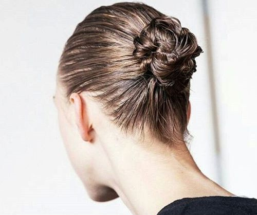 wet braided bun updo