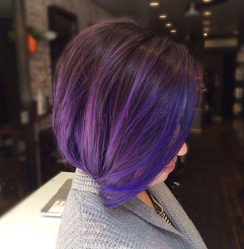 dark brown bob with blue and purple balayage