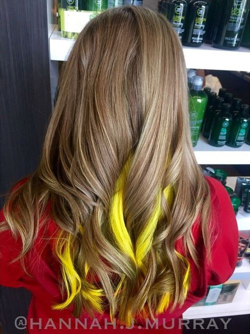 light brown hair with yellow peek-a-boo highlights