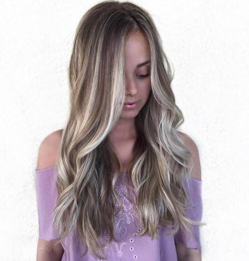 Brown Hair With Chunky Ash Blonde Highlights