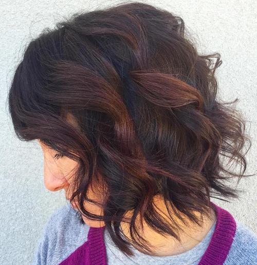 black wavy bob with reddish brown highlights