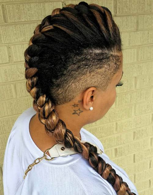 long mohawk braid with undercuts