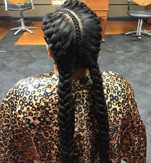 long black pigtail braids
