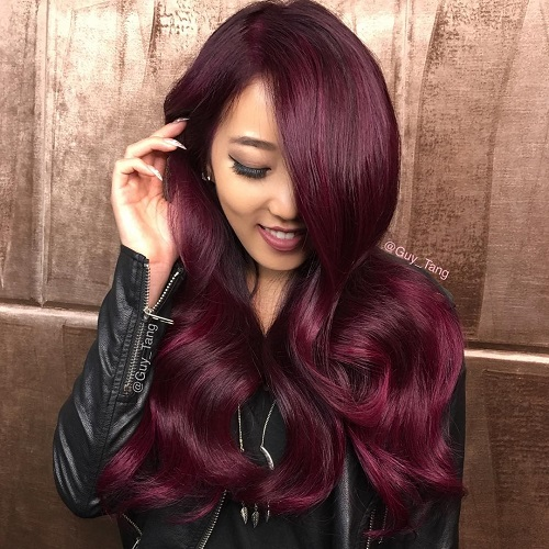 long bright burgundy hair