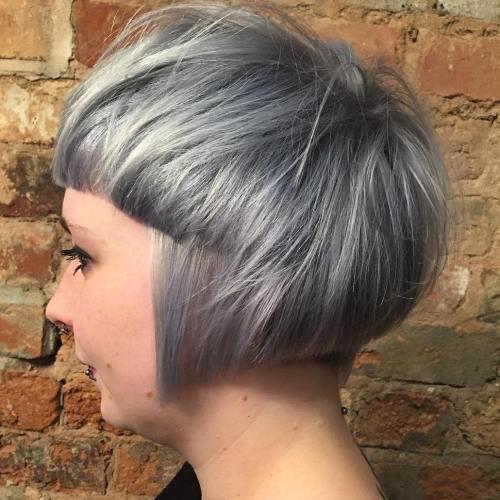 Gray Bowl Bob Haircut