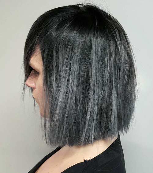 Blunt Black Bob With Silver Balayage