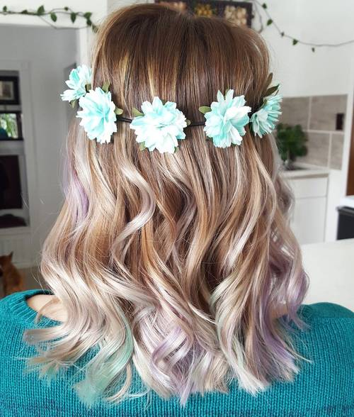 Blonde Ombre With Subtle Teal Highlights