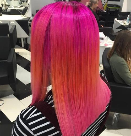 Pink And Orange Straight Hair