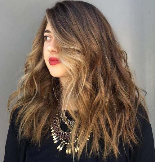 Long Choppy Brown Hair With Blonde Balayage