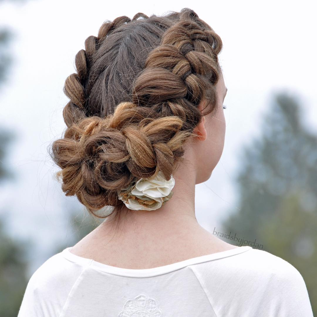 Braided Crown With A Bun Updo