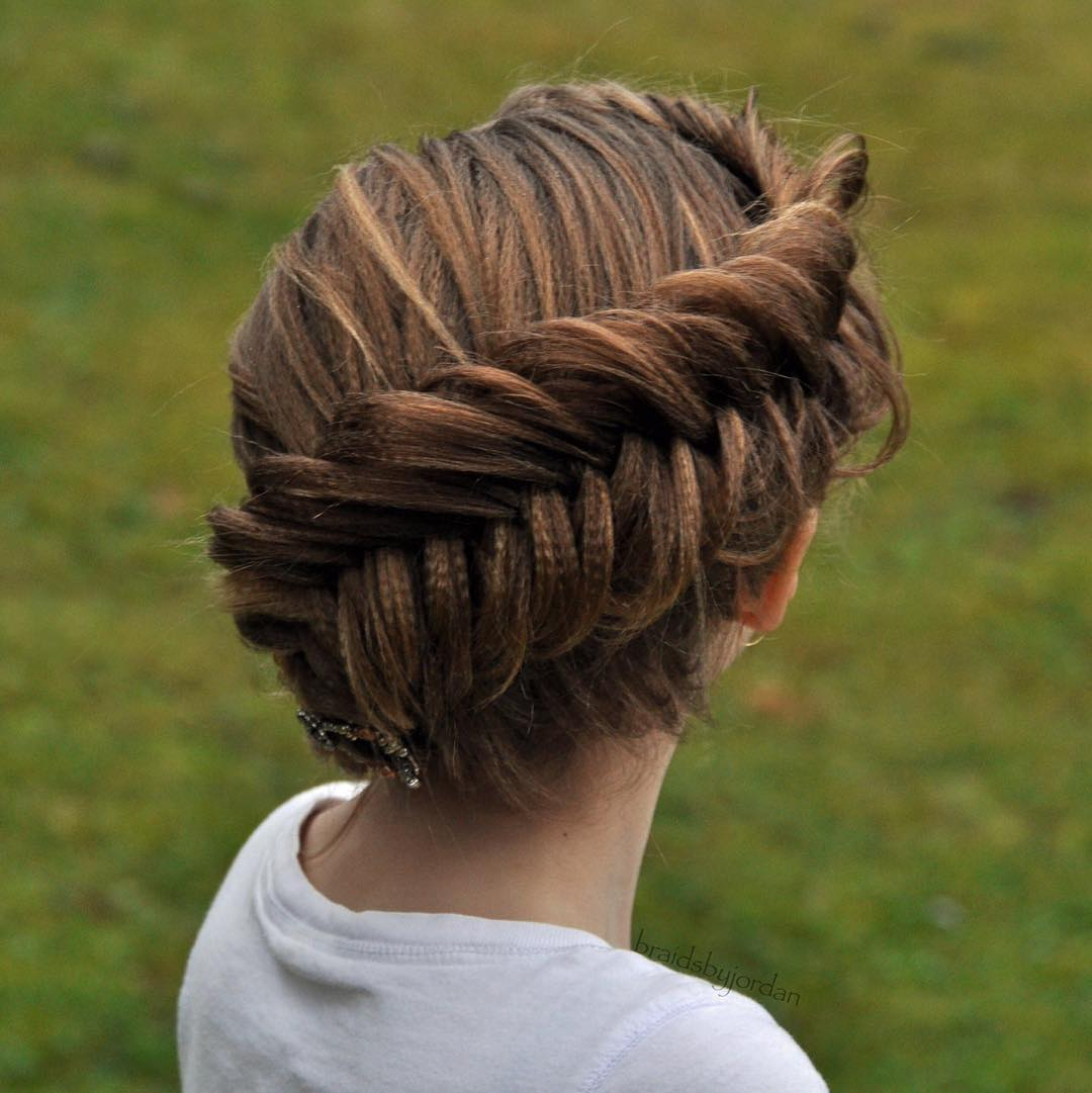 Crimped Hair Updo With Fishtail