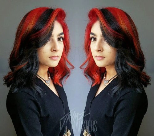 Two-Tone Black And Red Hair
