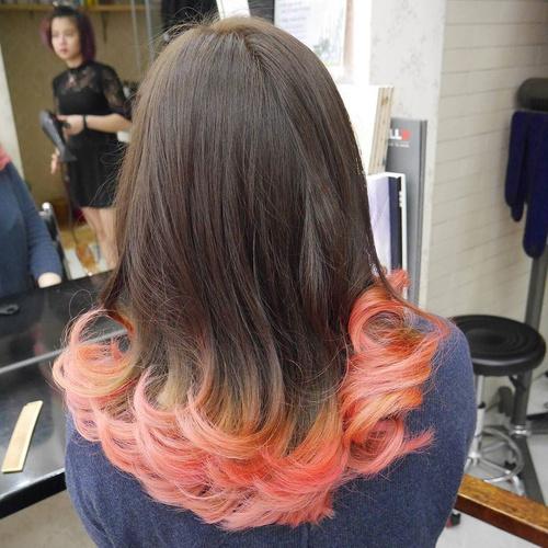 Brown Hair With Pastel Pink Dip Dye
