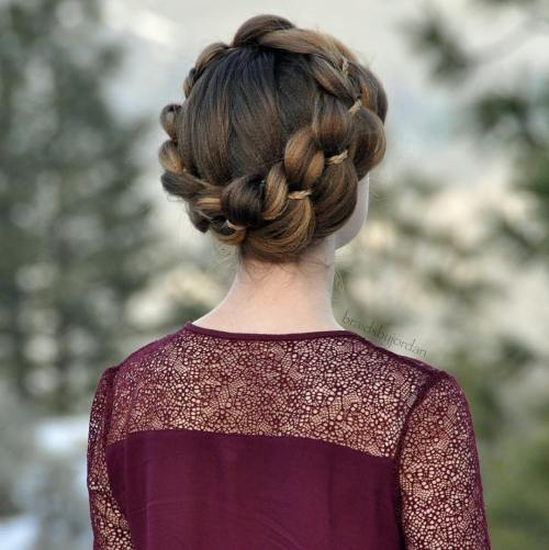 Strand Crown Braid Updo For Crimped Hair
