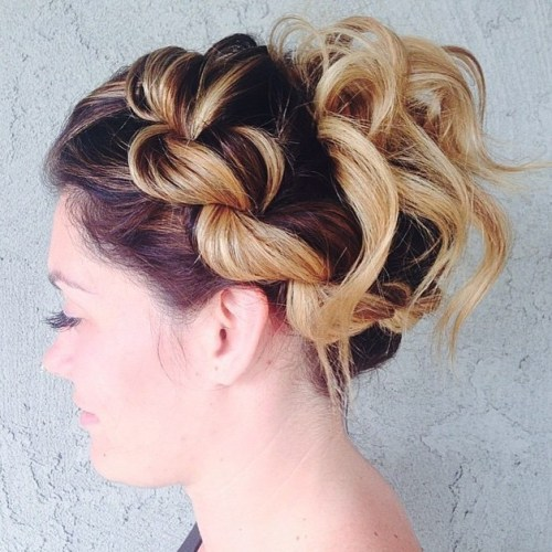 Curly Updo With A Rope Braid