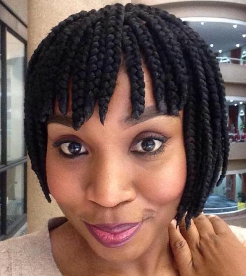 Short Box Braided Bob With Straight Bangs
