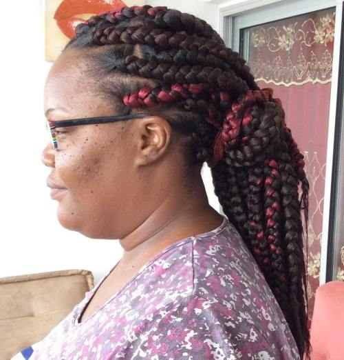 Dookie Braids In A Low Ponytail