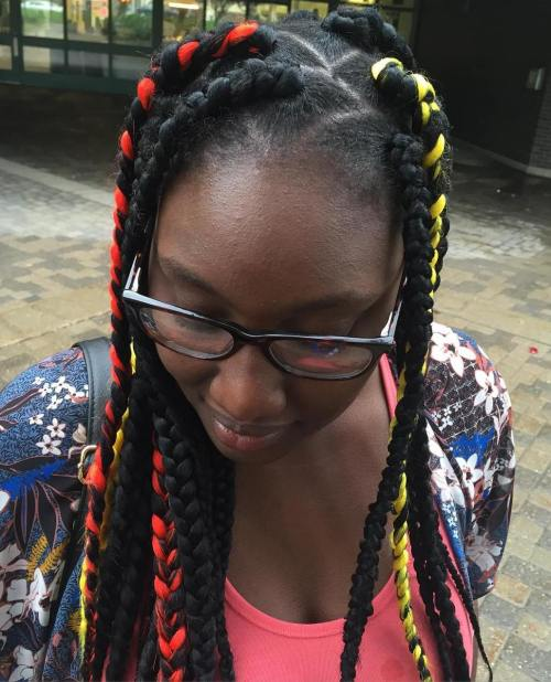Dookie Braids With Colorful Highlights