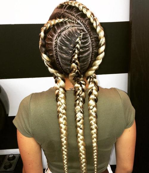 Curvy Ghana Braids With Blonde Extensions
