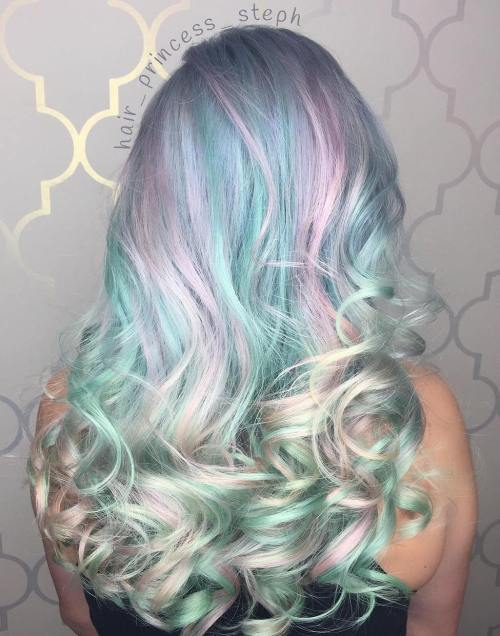 Light Pastel Teal And Pink Hair