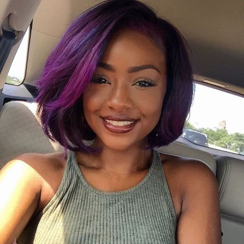 Side-Parted Purple Bob For Black Women