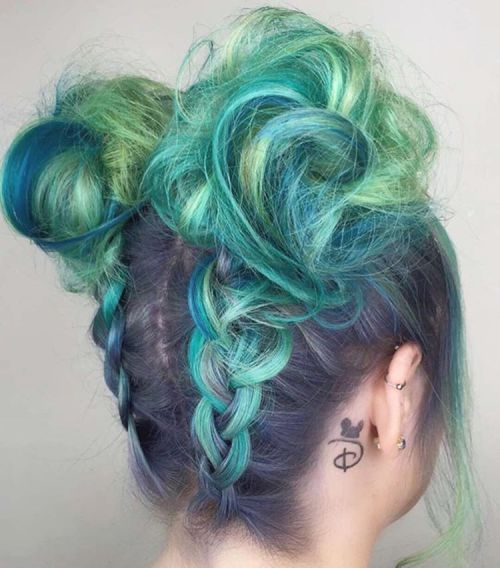 Mint Green And Lime Hair With Dark Roots