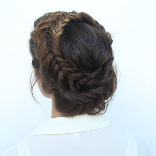 Fishtailed Crown Braid Updo