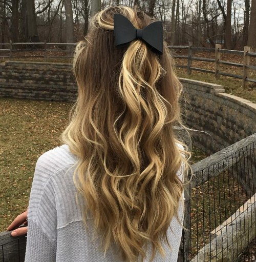 Wavy Half Updo For Long Hair