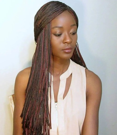 Long Brown Micro Braids