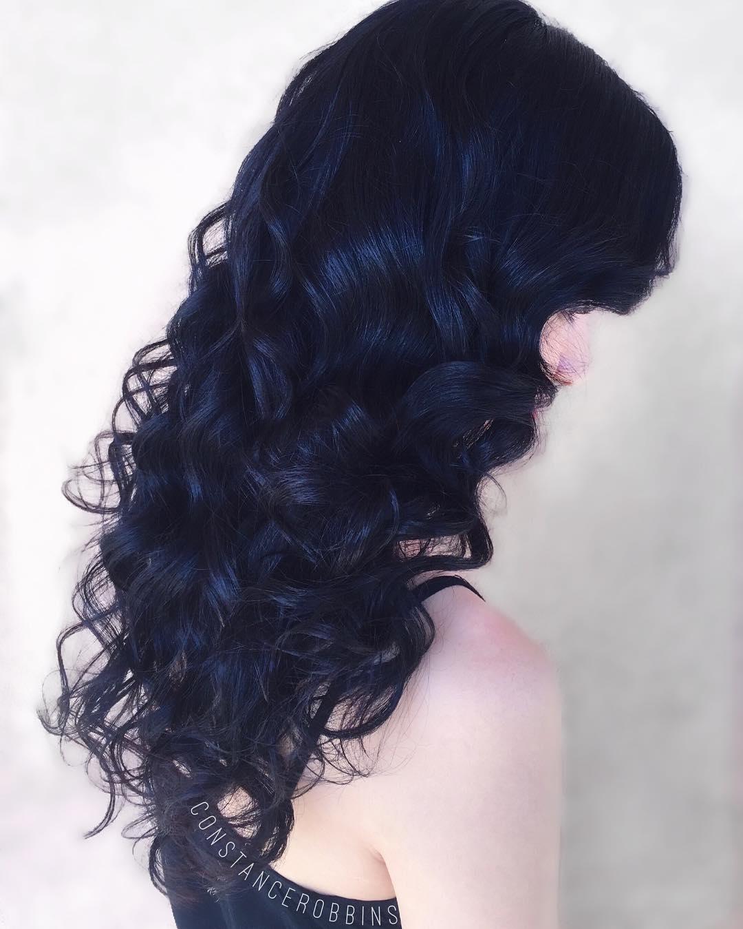 Long Curly Blue Black Hair