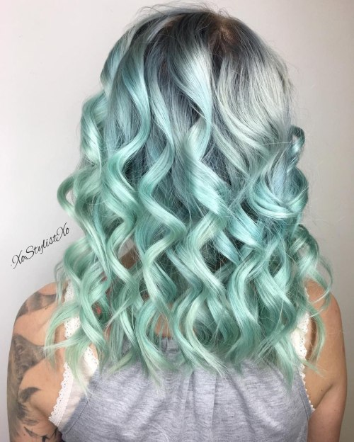 Silver To Pastel Turquoise Ombre