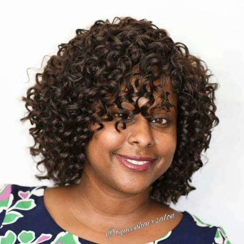 African American Curly Bob With Bangs
