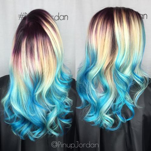 Blonde Hair With Blue Balayage