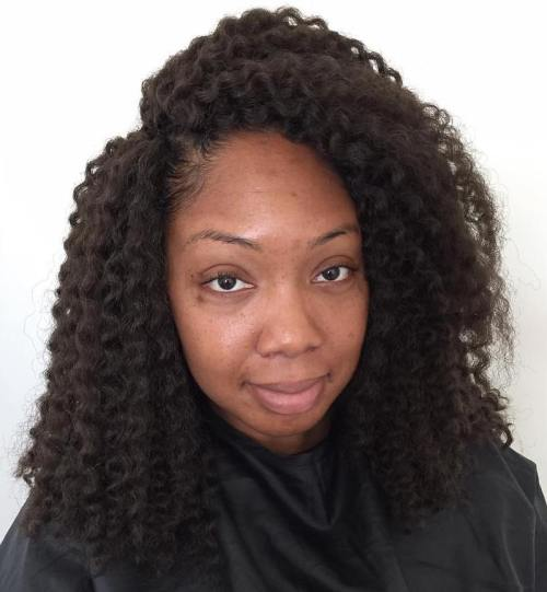 Medium Side Parted Natural Hairstyle