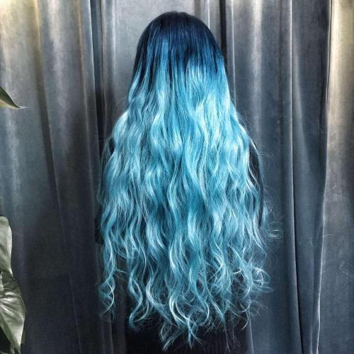 Long Pastel Blue Hair With Dark Roots