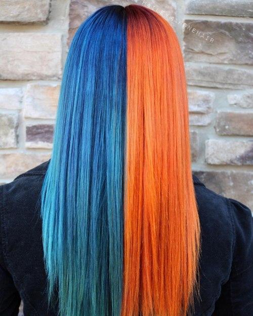 Half Blue Half Copper Hair Color Idea
