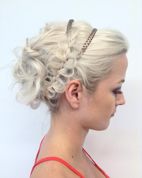 Curly Messy Updo With A Braid