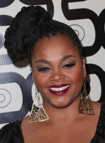 Jill Scott side bun from box braids